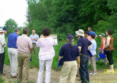 Professors from PSU's School of Agricultural Sciences listen as Harry Campbell, PA Scientist Advocate with the Chesapeake Bay Foundation, discusses soil amendment projects.