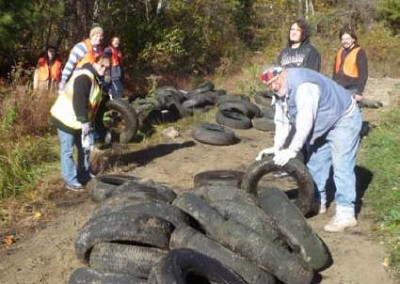 One of the greatest problems at illegal dump sites are the number of old tires, which clog the waterways and could pose a risk of West Nile Virus.