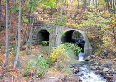 You will find an old rail bridge along the Sugar Notch Ridgetop Trail.