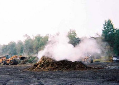 Steam can sometimes be seen rising from the decomposing yard waste.