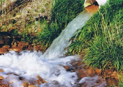 After the stream water passes through the wetlands it is returned to the steam virtually free of iron deposits