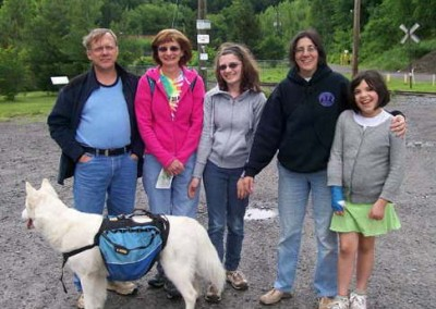 The American Hiking Society sponsors National Trails Day each year to promote outdoor active lifestyles. Pictured at EC's Mocanaqua Loop Trail is: the Sorokin family (left), Michele Shasberger (right), with Live Well Luzerne County, and daughter Isabelle Polgar.