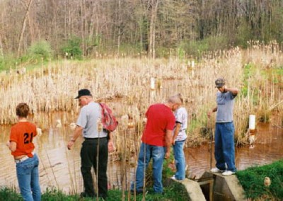 Each year, high school and college classes visit both EC wetland sites to test the iron levels of the water before entering and after exiting the wetland cells.