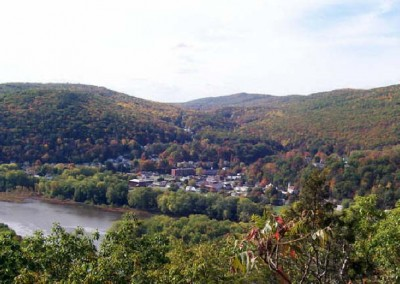 Hikers on the Mocanqua Loop Trail System can see Shickshinny from one of the lookout points.