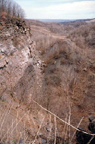 Highwalls were created when mining stripped mountainsides to access anthracite coal. They can be found on some of EC's lands and pose a dangerous risk.