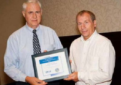 Earth Conservancy was awarded the 2012 Professional Recyclers of Pennsylvania (PROP) Waste Watchers award in recognition of its efforts.  PROP President of the Board of Directors Robert Watts (left) presents EC Executive Administrator John Renfer with the award.