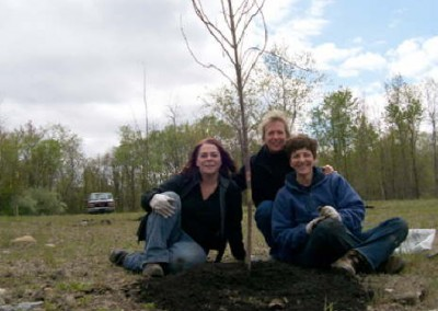 PA Environmental Council's reforestation program helped EC to plant 15 trees of varying species at EC's Espy Run Wetland area.  Pictures left to right: Angela Vitkoski, PEC Office & Project Manager, Jacqueline Dickman, EC Dir. of Public Affairs & Development, and Janet Sweeney, Director, PEC Northeast Regional Office.
