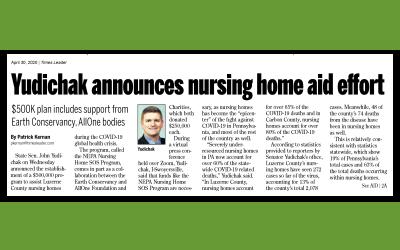 EC, AllOne Foundation, Yudichak Announce SOS Nursing Home Program in Fight Against COVID-19